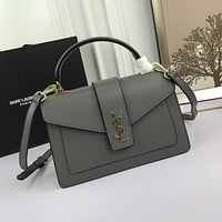 YSL Women Leather Shoulder Bag Satchel Tote Bag Handbag Shopping Leather Tote Crossbody 26*16*9cm