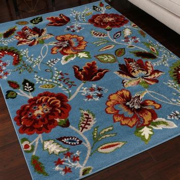 5305 Blue Floral Area Rugs