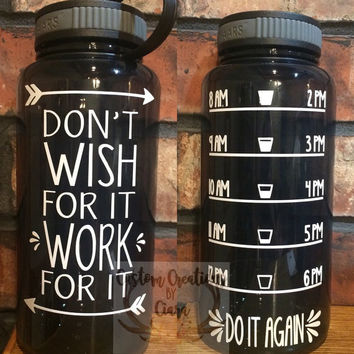 Custom 32 oz Water Bottle - Daily Motivation - Monogram - Funny - Cute - Girly - Workout - Motivation - Fitness - Exercise - Water Tracker -