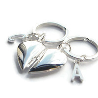 2 Best Friend Keychains ~ Bon Voyage Gifts, Friendship Boxes, Male and Female Friend Gifts, Personalised Keyrings, Silver Half Heart Lockets