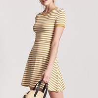 Ribbed Stripe Fit & Flare Dress