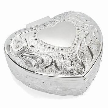 Silver-plated Floral Heart Jewelry Box - Engravable Personalized Gift Item