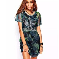 Tagre™ Adidas Fashion Green Leaves Feather Movement Leisure Round Neck Short Sleeve T-shir Dress