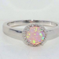 6mm Pink Opal Diamond Ring White Gold Quality