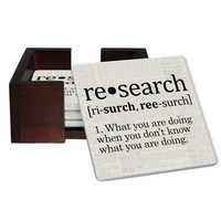 Psychology Definition Coaster Set - Sandstone Tile 4 Piece Set - Caddy Included