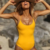 Solid Color Sexy High Waist Backless Swimsuit