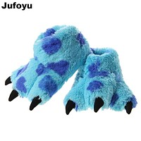 Jufoyu New 2017 Winter Super Kids Soft Flannel Interior Home Slipper Paw Shoes Cotton Slippers Plush Dinosaur Stitch Warm Slippe