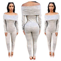 High quality Bodysuit grey Strapless 100% Cotton Jumpsuits Long Sleeves Off Shoulder skinny Women Party One Piece Romper Lady
