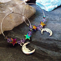 Celestial Hoop Earrings, Swarvorski Crystal, Rainbow Hematite Stars, Stainless Steel Hoops, Silver plated Charms, Moonchild, Aura, Luna