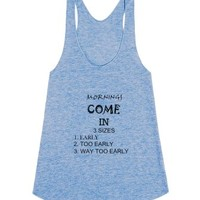 Mornings Come In 3 Sizes-Female Athletic Blue Tank