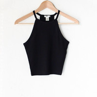 Knit Ribbed Cropped Cami - Black