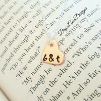 Copper Heart Initial Necklace, Couple Necklace, Couples Initial Necklace, Hand Stamped, Two Tone Heart Necklace, Copper Heart, Handmade