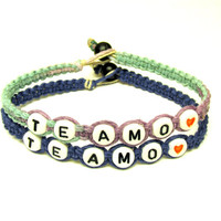 Te Amo, Hemp Couples Bracelets, Set of Two, Pastel and Dark Blue Macrame Hemp Jewelry