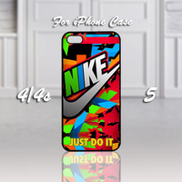 Nike Just Do It Full Color, Design For iPhone 4/4s Case or iPhone 5 Case - Black or White (Option)