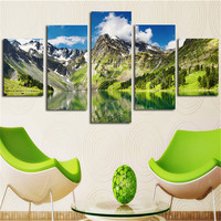 (No Frame)5 Pcs White Cloud Snowy Green Lake Yellow Mountain Home Wall Decor Canvas Picture Art HD Print Painting Set of 5 Each