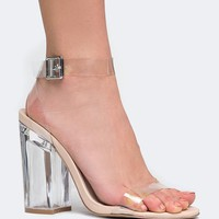 Strappy Buckled Clear Heel