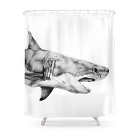 Society6 Great White Shark Shower Curtains