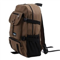 2017 new men Backpack casual Letter Bags Mountaineering travel Backpack Canvas bag solid color Daily zipper Backpacks For male