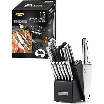 McCook MC29 Knife Sets,15 Pieces German Stainless Steel Kitchen Knife Block