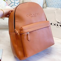 Bunchsun COACH Fashion New Letter Leather Backpack Bag Book Bag Brown