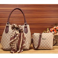 Perfect Gucci Women Fashion Leather Satchel Bag Shoulder Bag Handbag Crossbody Set Two Piece