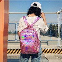 CRY BABY Letter Embroidery PU Hologram Laser Backpacks Large Capacity Teenager Schoolbag Streetwear Lolita Kawaii Kpop Girl Bags