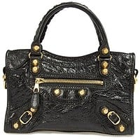 Balenciaga Women's Giant 12 Gold City Lambskin, Black, Mini