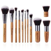 EmaxDesign Makeup Brush Set 11 Pieces Professional Bamboo Handle, Premium Synthetic Kabuki, Foundation Blending Blush Eye Face Liquid Powder Cream Cosmetics Brushes Kit with Bag