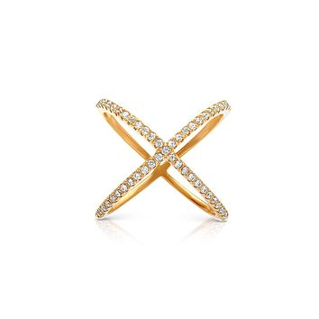 Cross Over Ring in Gold