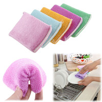 Colorful Kitchen Cleaning Dish Washing Up Sponge Scrubber Bamboo Fiber Cute #77745