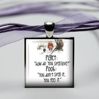 25mm GLASS tile necklace pendant Winnie the Pooh by petalsofgrace