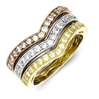 Sterling Silver Vermeil Trio Stackable CZ Rings