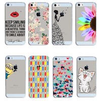 2016 New Arrival Hot 22 Styles PC Hard Transparent Phone Skin Back Case Cover For Apple i Phone iPhone 5 5S 5G