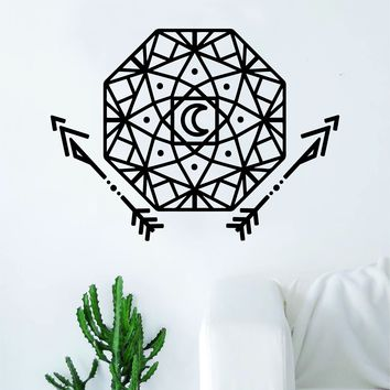 Geometric Dreamcatcher V2 Arrows Moon Art Wall Decal Sticker Vinyl Living Room Bedroom Decor Teen Native American Dream Catcher