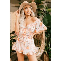 In Full Bloom Floral Romper (Pearl Blush)