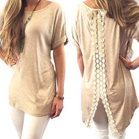 Casual Women Simple Roll-Up Sleeves Round Neck Back Lace Splicing T-Shirt Stylish Long Tee = 5617070913