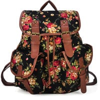 Black Floral Printed Backpack