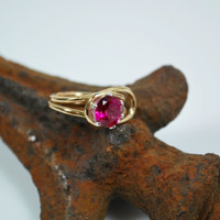 Pink Topaz Solitaire Engagement Ring - Blush Rose Topaz and 18K Gold Engagement Ring - Anniversary Ring