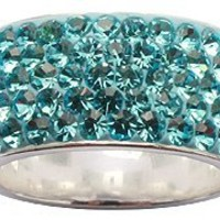 Silver ring with Swarovski crytals by GlitZ JewelZ - 5 rows of crytals hand set and hand polished t