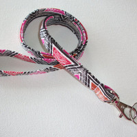 Lanyard  ID Badge Holder - NEW THINNER design - triangles pink black orange - Lobster clasp and key ring coworker gift