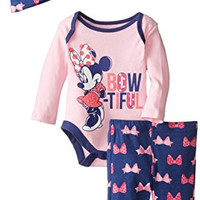 Disney Baby Girls'  Bow-Tiful Minnie Mouse 3 Piece Set, Multi, 9 Months