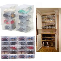 Hot Sale 10Pcs Transparent Clear Plastic Shoes Storage Boxes Foldable Shoes Case Holder