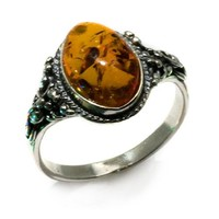 Honey Amber and Sterling Silver Classic Oval Ring, Sizes 5,6,7,8,9,10,11,12