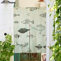 "Japanese Noren Doorway Curtain Tapestry 33.5"" Width x 47.2"" Long, Fish"