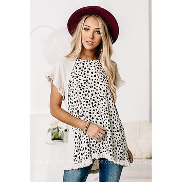 In My Opinion Spotted Linen Top