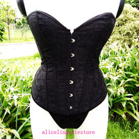 Black New Sexy Lady Corsets Bustier Lingerie Lace up back Dobby Corset With G-string