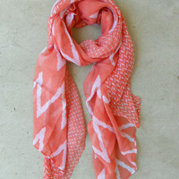 Wavy Lines Scarf in Coral [4373] - $14.00 : Vintage Inspired Clothing & Affordable Summer Frocks, deloom   Modern. Vintage. Crafted.