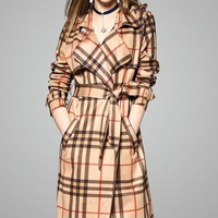 Plaid Suede Trench Coat