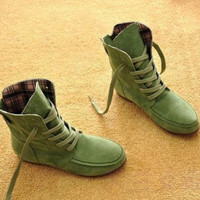 Women Suede Lace Up Boots Flat Ankle Shoes