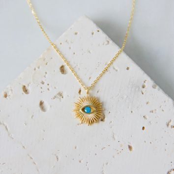 Turquoise Evil Eye Sunburst Necklace